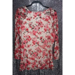 Dots 2x Floral Blouse with lace sleeves